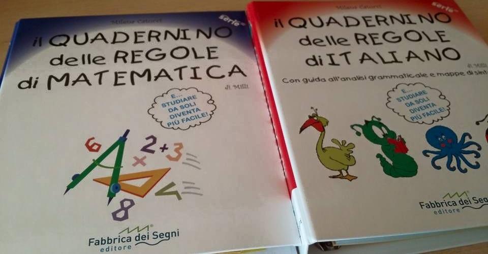 Quadernini delle regole di grammatica e di matematica