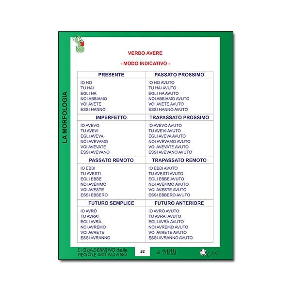 Quadernino delle REGOLE DI ITALIANO 10