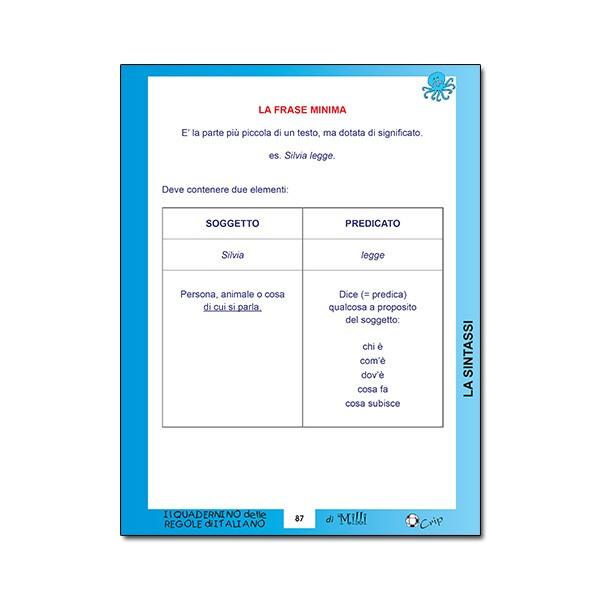 Quadernino delle REGOLE DI ITALIANO 11