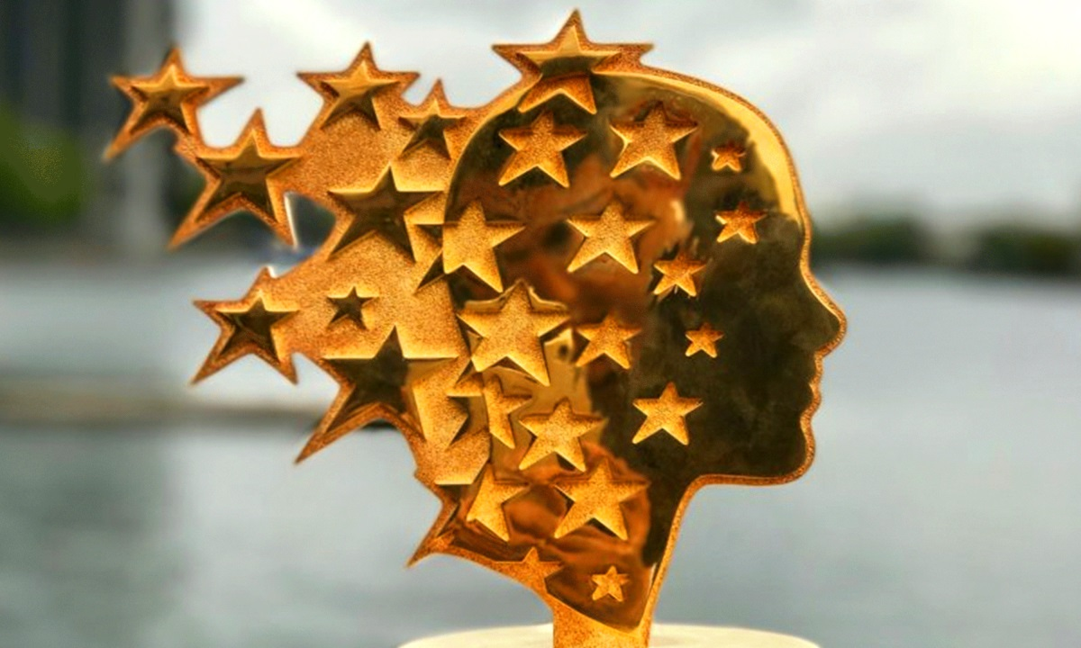 global teacher prize trophy