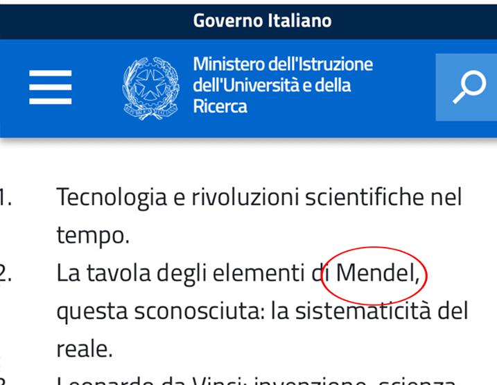 Mendel al Posto di Mendeleev