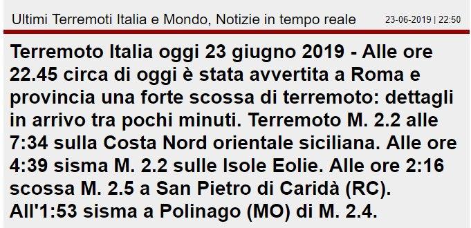 annuncio terremoto roma